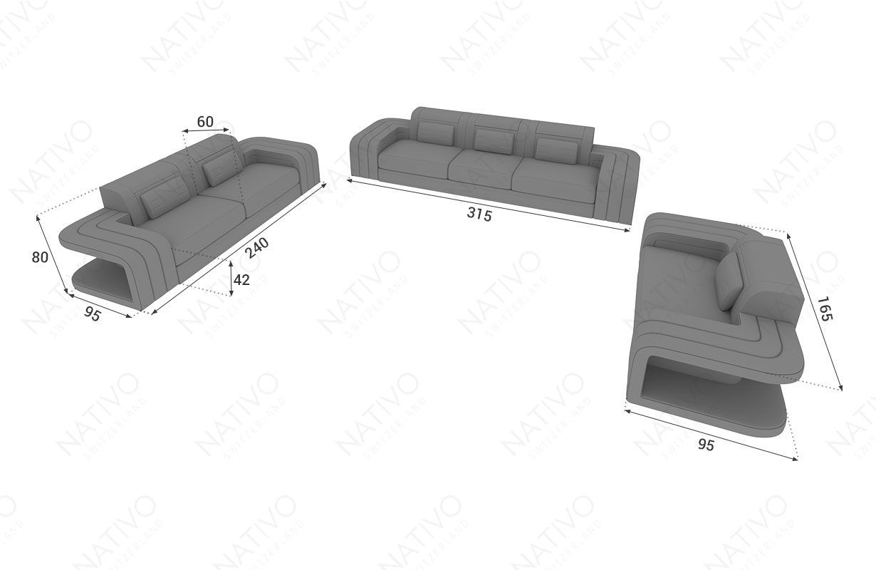 Designer Leder Sofa SPACE 3+2+1 in der Nativo Filiale kaufen