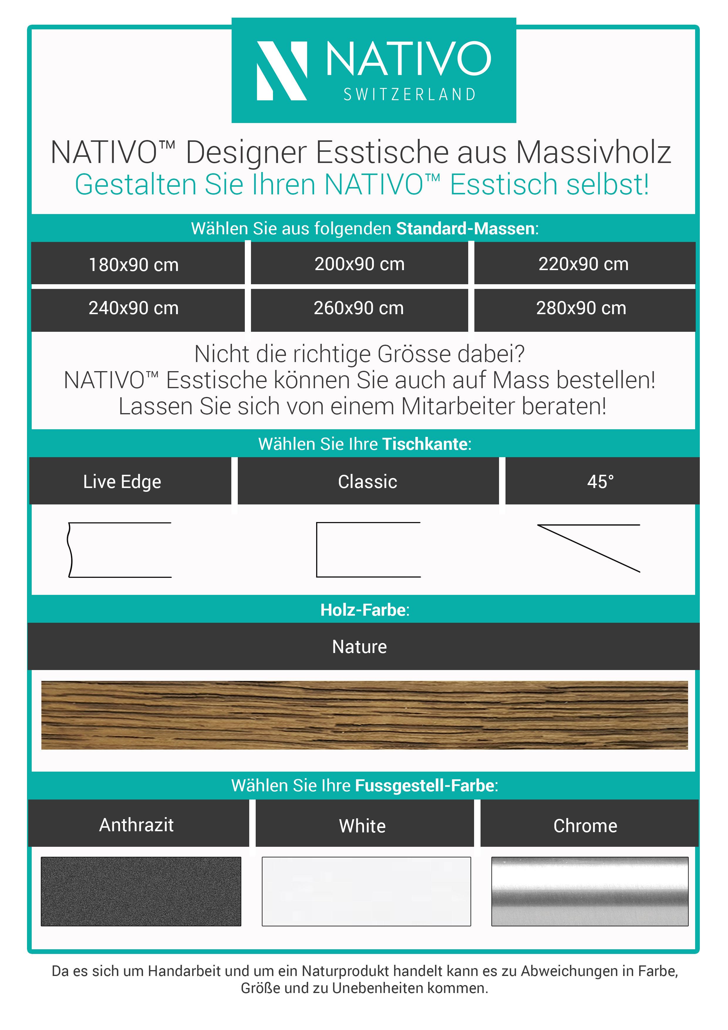 Farben designer Esstisch ARTHUR v.1 aus Massivholz von NATIVO Designer Möbel Österreich