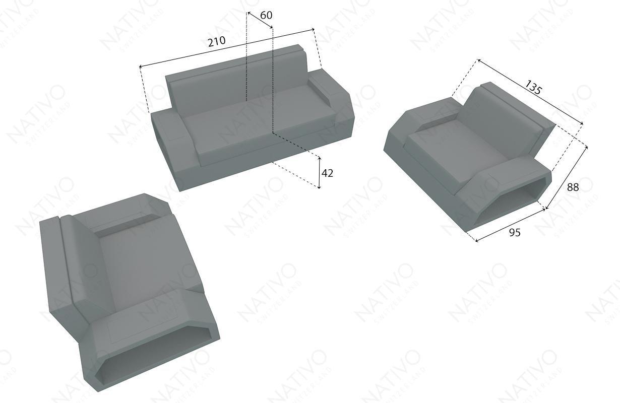 dimensionen rattan sofa CLERMONT 2+1+1 v2