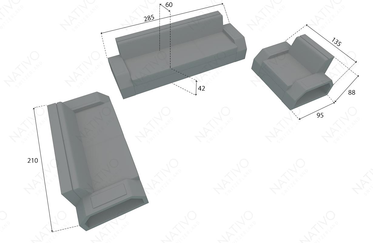 dimensionen rattan sofa CLERMONT 3+2+1 v2