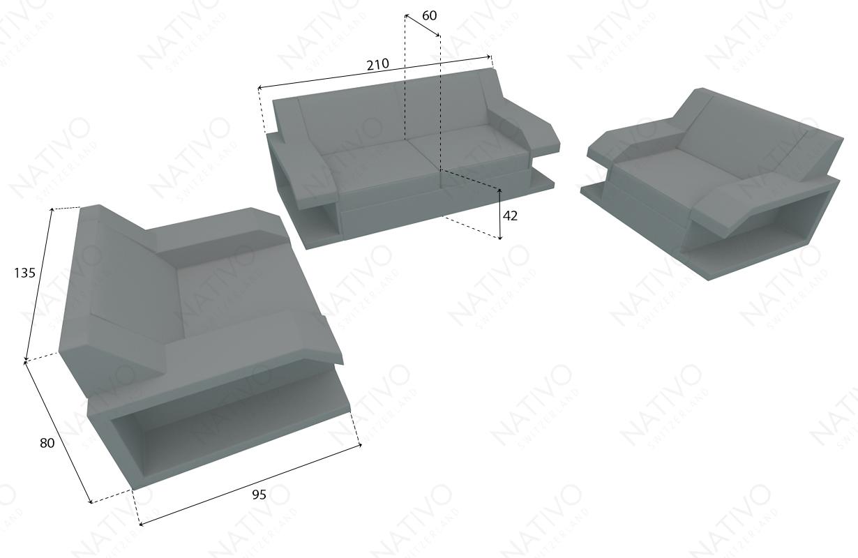 Designer Rattan Lounge Sofa MATIS 2+1+1 NATIVO™ Möbel Schweiz